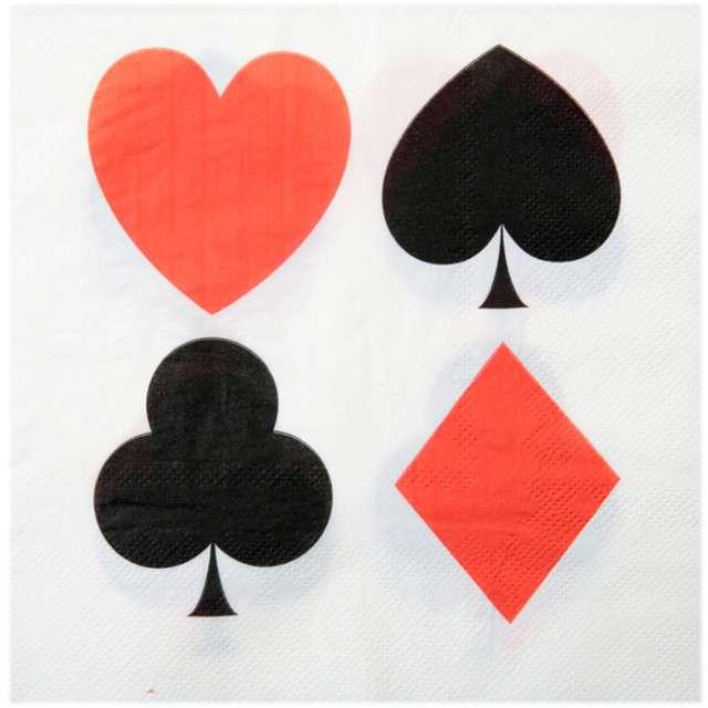 """Serwetki """"Poker"""", SANTEX, białe, 33 cm, 20 szt"""