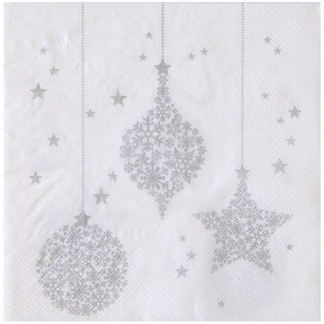 """Serwetki """"Śnieżynki"""", SANTEX, białe, 33 cm, 20 szt"""
