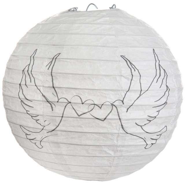 """Lampion papierowy """"Gołąbki Ślubne"""", biały, SANTEX, 20 cm"""
