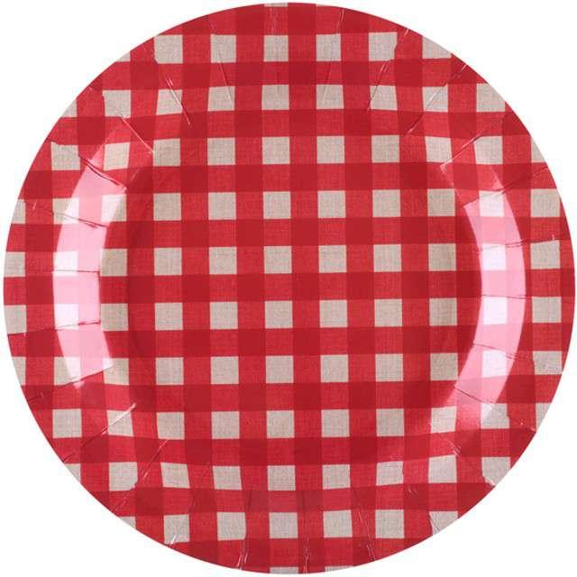 """Talerzyki papierowe """"Piknikowa Krata"""", SANTEX, 22,5 cm, 10 szt"""
