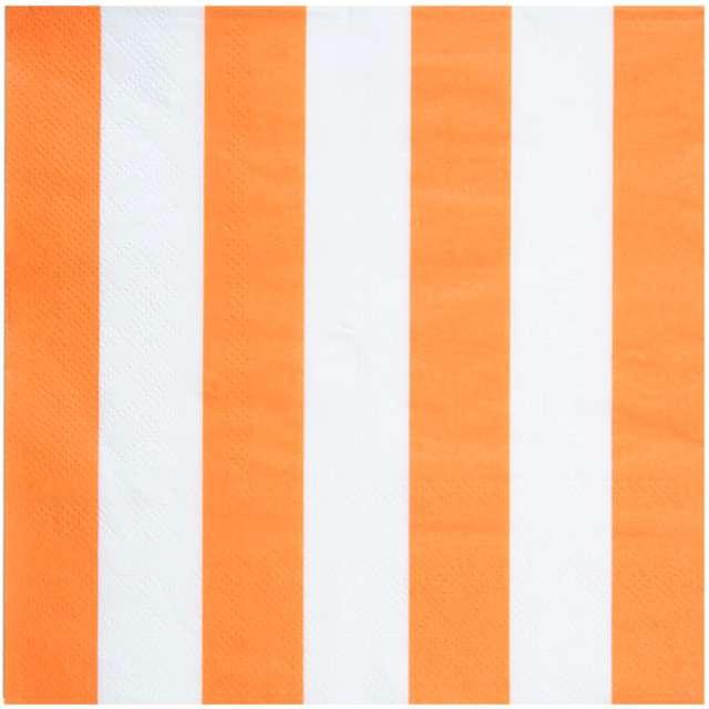 "Serwetki ""Paski"", SANTEX, pomarańczowe, 33 cm, 20 szt"