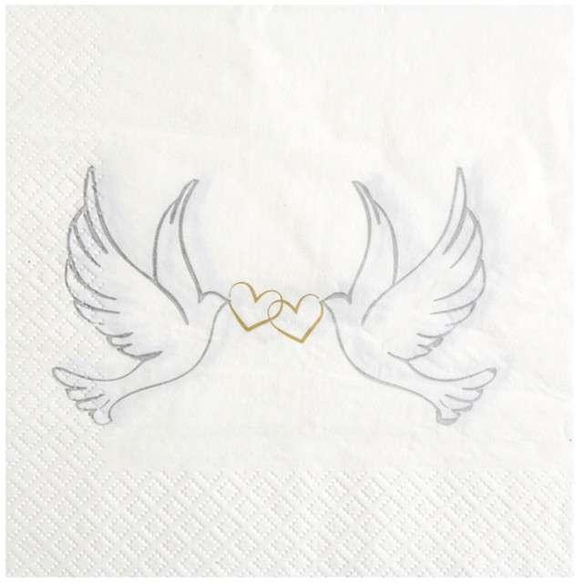 """Serwetki """"Gołąbki Ślubne"""", SANTEX, białe, 33 cm, 20 szt"""