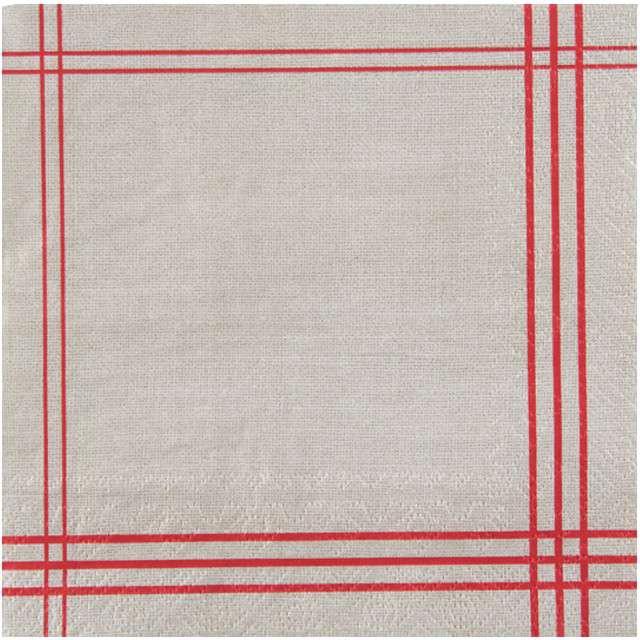 """Serwetki """"Tradycyjne - czerwone paski"""", SANTEX, białe, 33 cm, 20 szt"""
