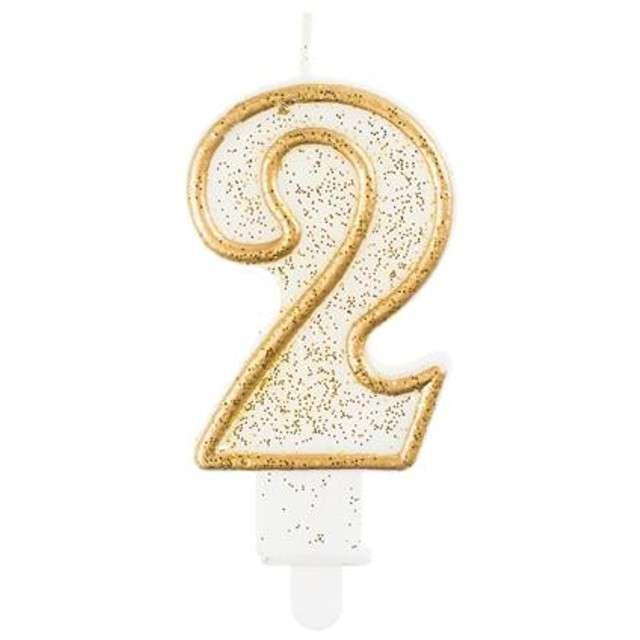"""Świeczka na tort """"2"""", GoDan, złota z brokatem, 9 cm"""