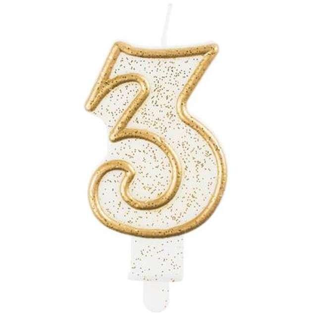 """Świeczka na tort """"3"""", GoDan, złota z brokatem, 9 cm"""