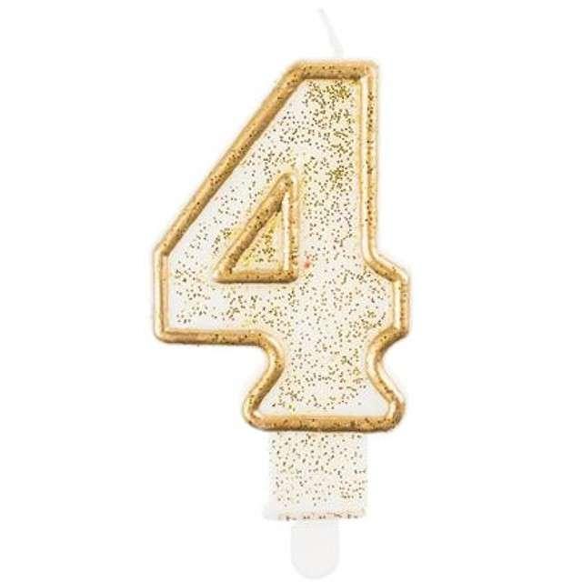 """Świeczka na tort """"4"""", GoDan, złota z brokatem, 9 cm"""