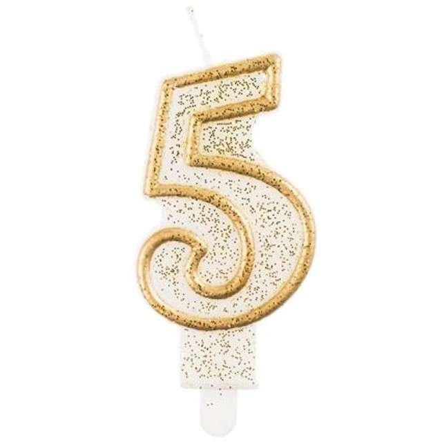 """Świeczka na tort """"5"""", GoDan, złota z brokatem, 9 cm"""