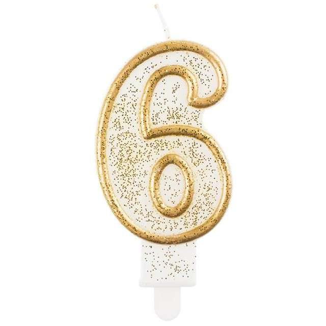 """Świeczka na tort """"6"""", GoDan, złota z brokatem, 9 cm"""