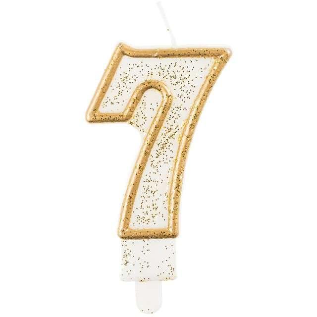 """Świeczka na tort """"7"""", GoDan, złota z brokatem, 9 cm"""