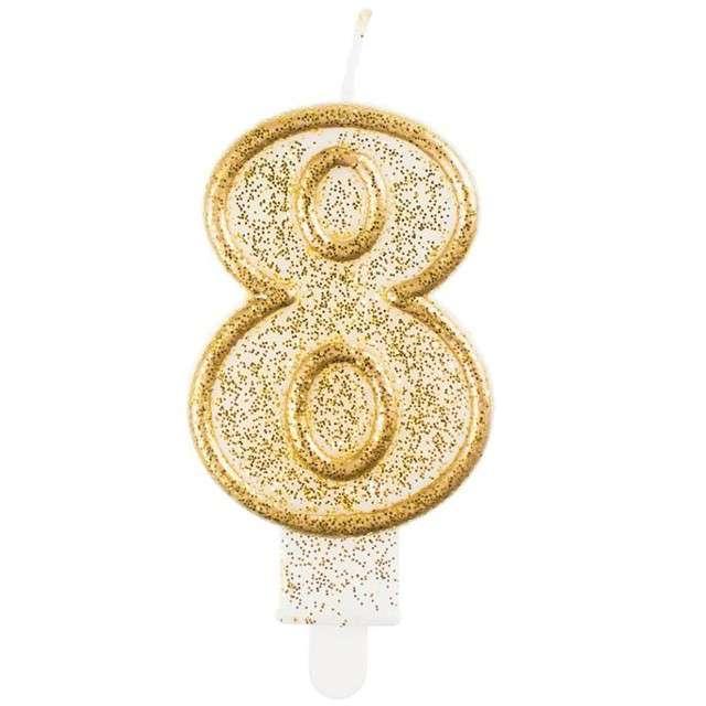 """Świeczka na tort """"8"""", GoDan, złota z brokatem, 9 cm"""