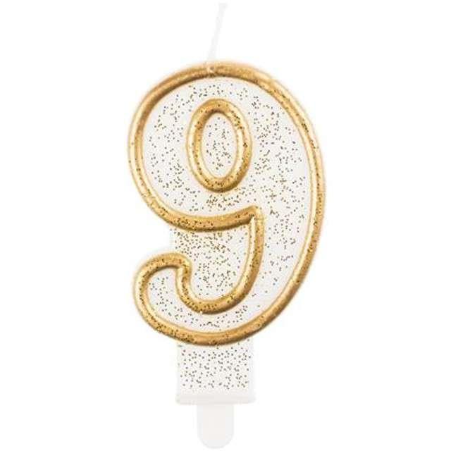 """Świeczka na tort """"9"""", GoDan, złota z brokatem, 9 cm"""