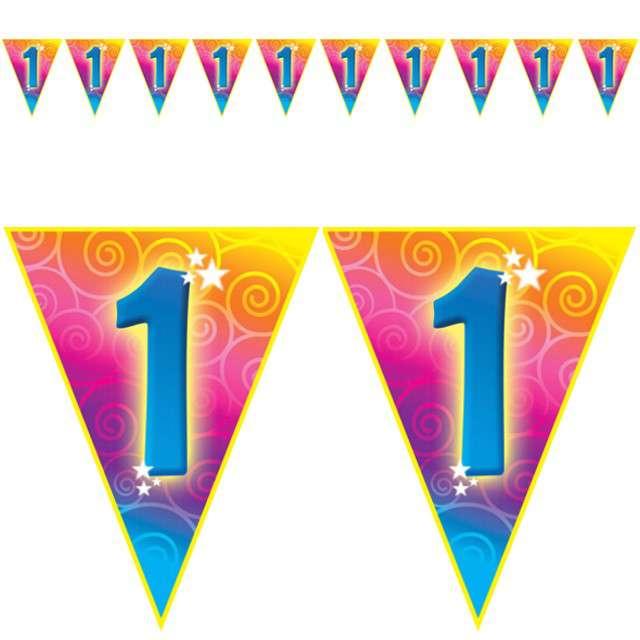"Baner flagi ""Urodziny 1 Rainbow Swirl"", Funny Fashion, 5 m"