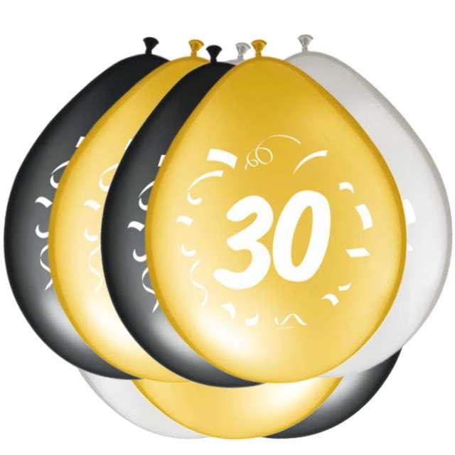 """Balony """"30 Urodziny"""", FOLAT, mix, 12"""", 8 szt"""