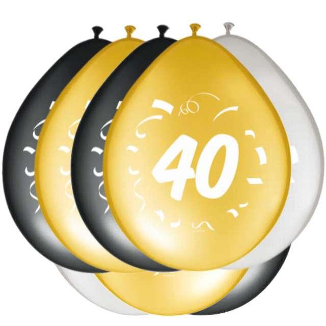 """Balony """"40 Urodziny"""", FOLAT, mix, 12"""", 8 szt"""