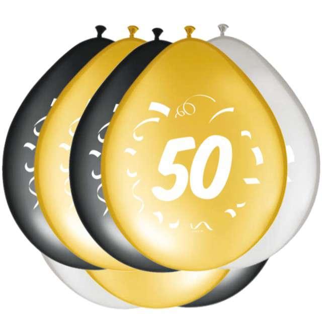 """Balony """"50 Urodziny"""", FOLAT, mix, 12"""", 8 szt"""