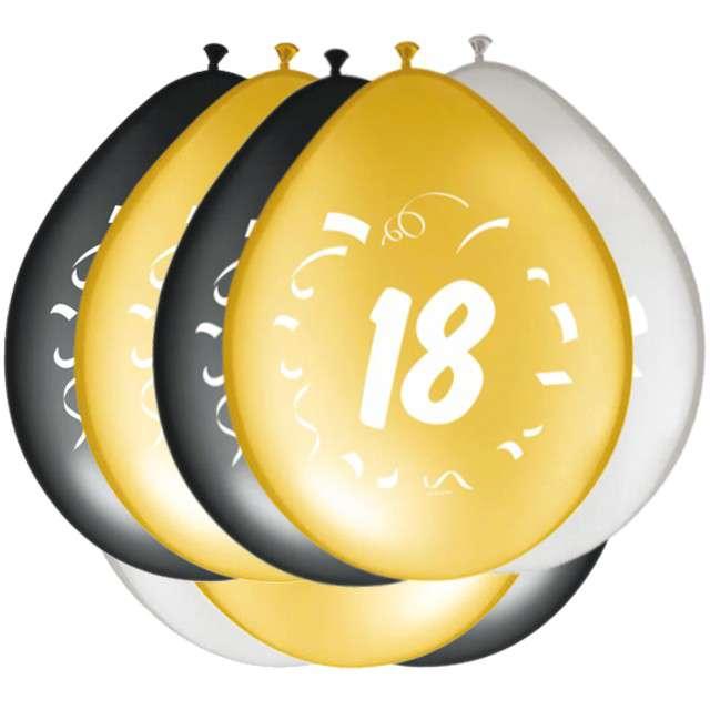 """Balony """"18 Urodziny"""", FOLAT, mix, 12"""", 8 szt"""