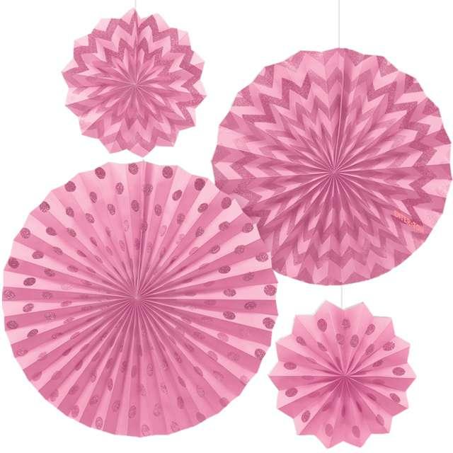 """Rozeta wisząca """"Glitter"""", różowa jasna, 4 szt"""