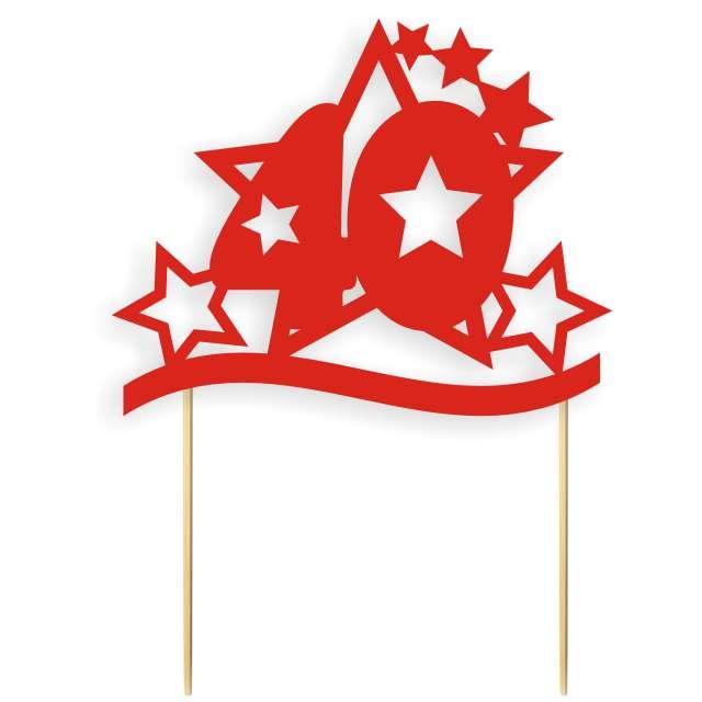 """Dekoracja na tort papierowa """"Urodziny 40 Stars"""", czerwona,  17 cm"""
