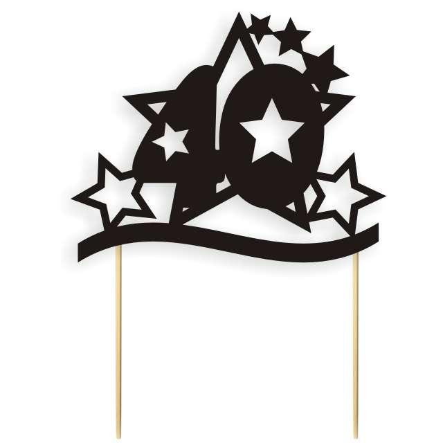 """Dekoracja na tort papierowa """"Urodziny 40 Stars"""", czarna,  17 cm"""