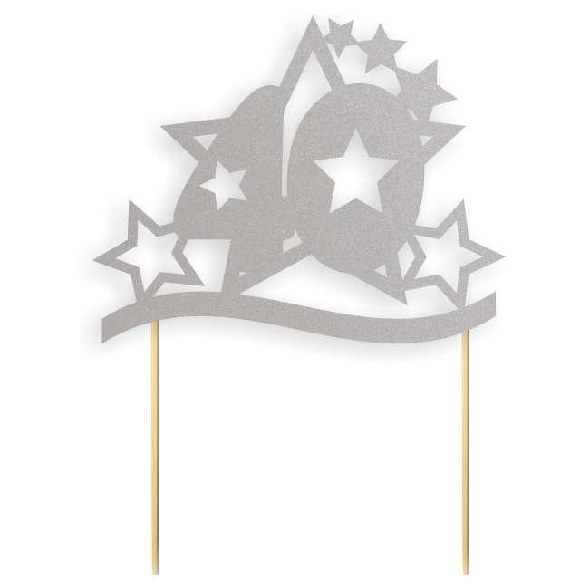 """Dekoracja na tort papierowa """"Urodziny 40 Stars"""", srebrna,  17 cm"""