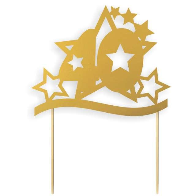 """Dekoracja na tort papierowa """"Urodziny 40 Stars"""", złota,  17 cm"""