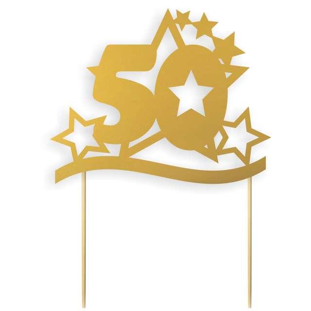 """Dekoracja na tort papierowa """"Urodziny 50 Stars"""", złota, 17 cm"""