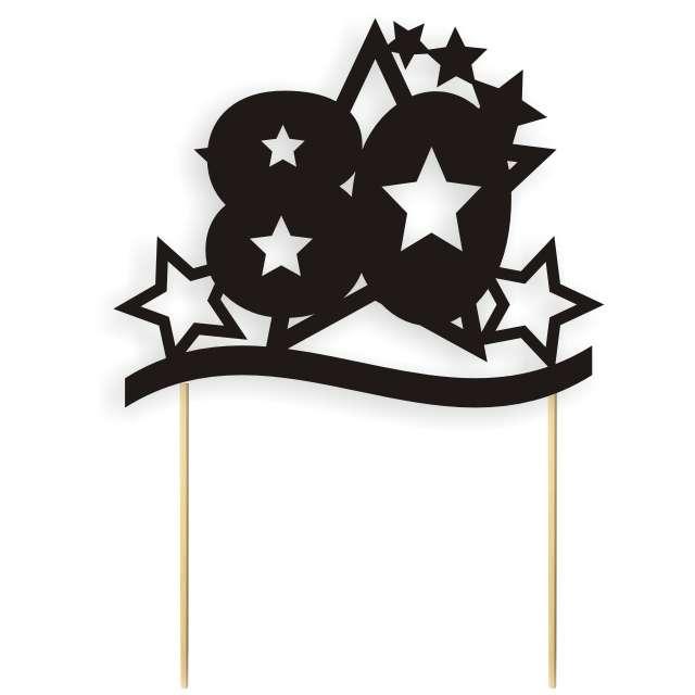 """Dekoracja na tort papierowa """"Urodziny 80 stars"""", czarna, 17 cm"""