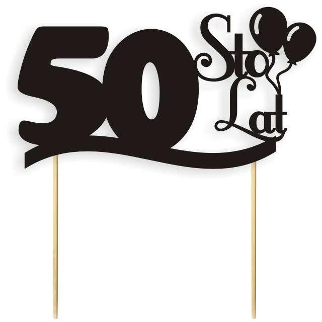 Dekoracja Na Tort Papierowa Urodziny 50 Czarna 17 Cm Ctp007 010