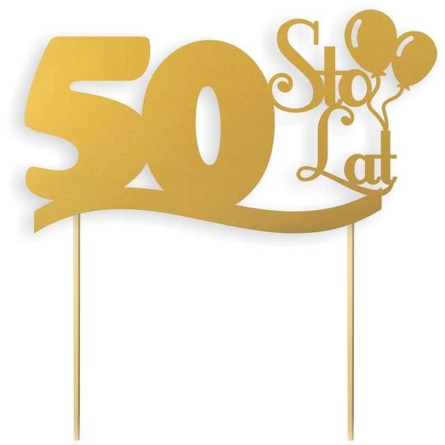 """Dekoracja na tort papierowa """"Urodziny 50"""", złota, 17 cm"""