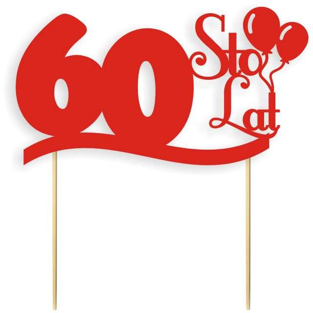"""Dekoracja na tort papierowa """"Urodziny 60"""", czerwona, 17 cm"""