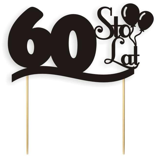 """Dekoracja na tort papierowa """"Urodziny 60"""", czarna, 17 cm"""