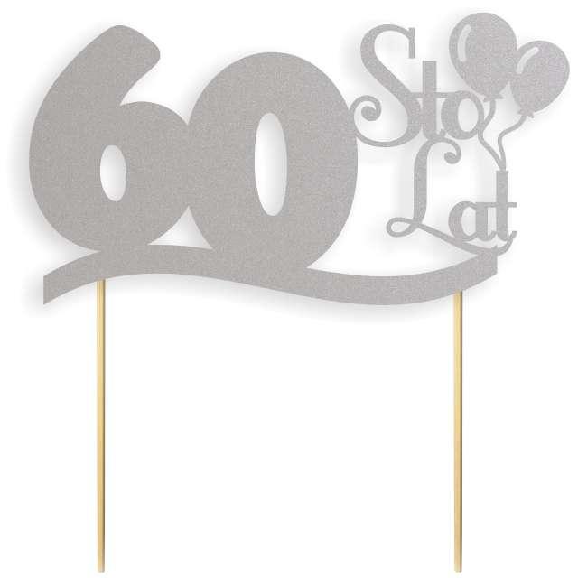 """Dekoracja na tort papierowa """"Urodziny 60"""", srebrna, 17 cm"""