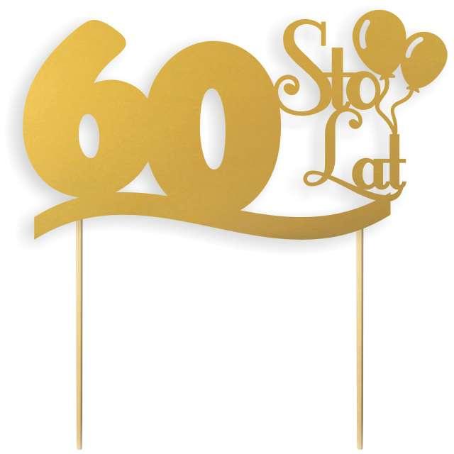 """Dekoracja na tort papierowa """"Urodziny 60"""", złota, 17 cm"""