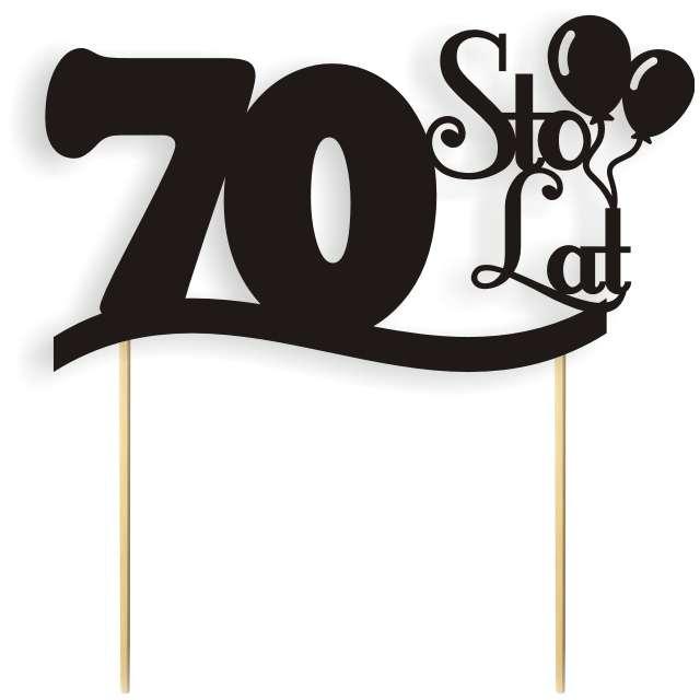 """Dekoracja na tort papierowa """"Urodziny 70"""", czarna, 17 cm"""