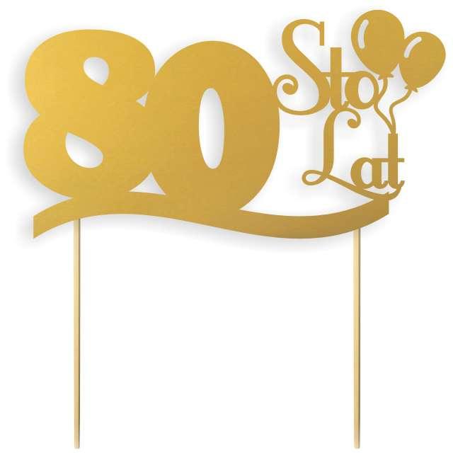"""Dekoracja na tort papierowa """"Urodziny 80"""", złota, 17 cm"""