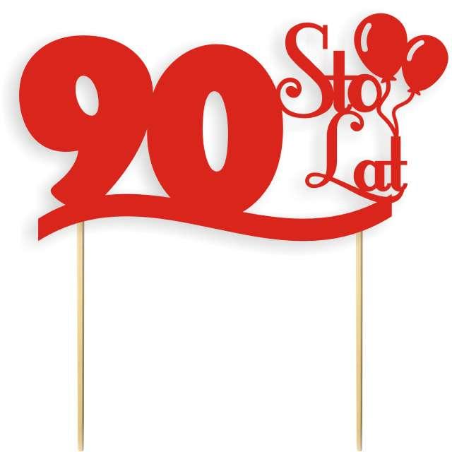 """Dekoracja na tort papierowa """"Urodziny 90"""", czerwona, 17 cm"""