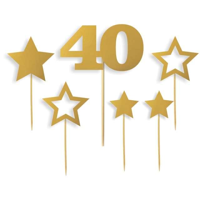 """Dekoracja na tort """"Urodziny 40 zestaw"""", złota, 6 szt"""