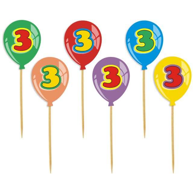 """Pikery """"Urodziny 3 Baloniki"""", 6 szt"""