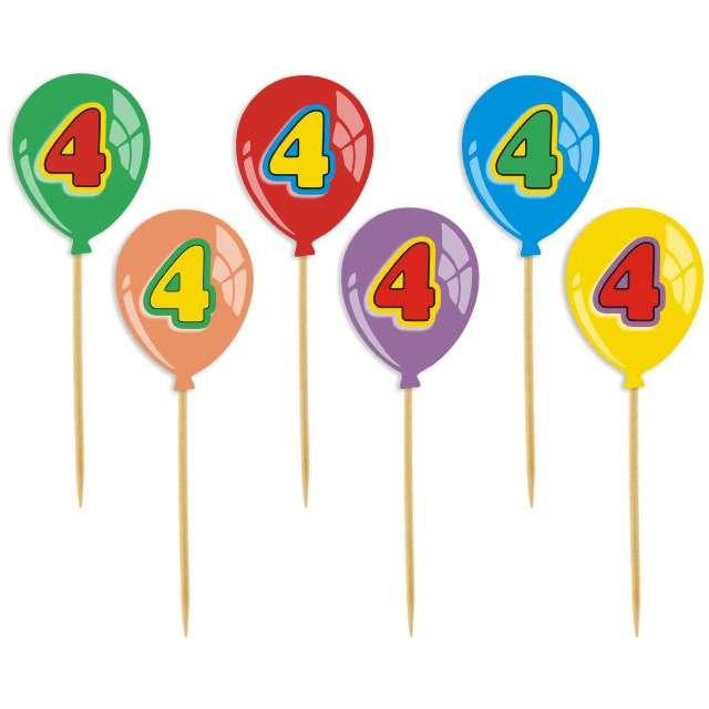 """Pikery """"Urodziny 4 Baloniki"""", 6 szt"""