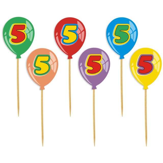 """Pikery """"Urodziny 5 Baloniki"""", 6 szt"""