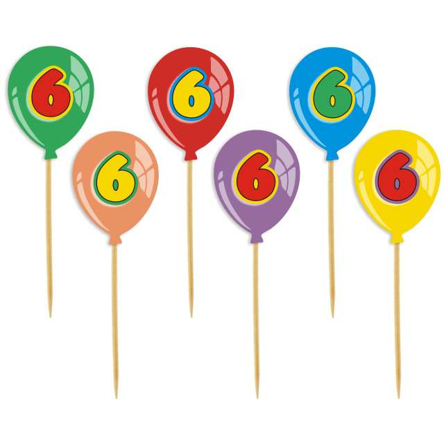"""Pikery """"Urodziny 6 Baloniki"""", 6 szt"""