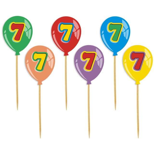 """Pikery """"Urodziny 7 Baloniki"""", 6 szt"""