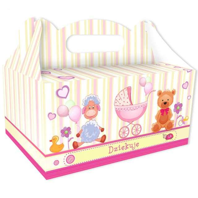 """Pudełko na ciasto """"Podziękowanie"""", różowe, 6 szt"""