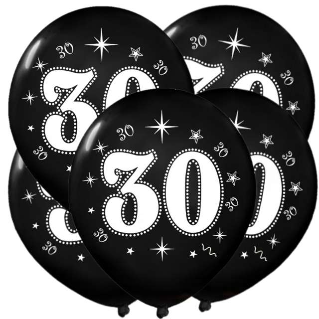 "Balony ""30"", metalik black, 12"", 5 szt"