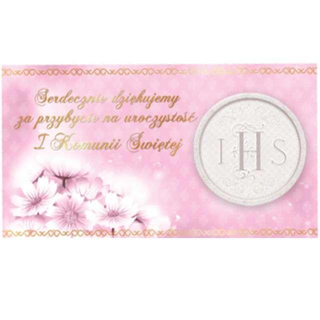 """Bileciki """"Podziękowanie - winietka IHS Pierwsza Komunia Św."""", różowe, 10 szt"""