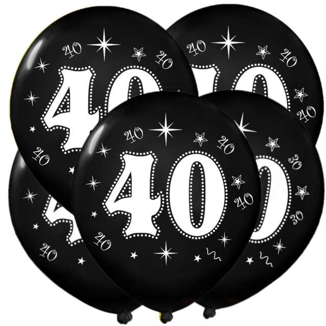 "Balony ""40"", metalik black, 12"", 5 szt"