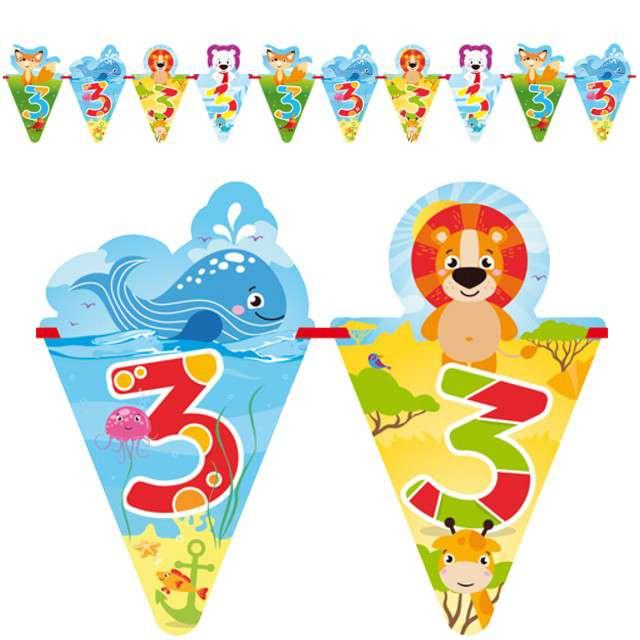 """Baner flagi """"3 Urodziny - zwierzątka"""", FOLAT, 600 cm"""