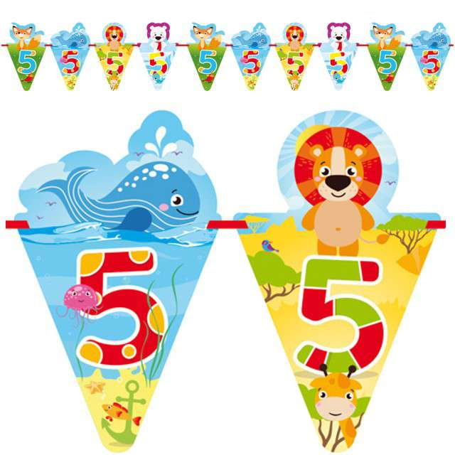"""Baner flagi """"5 Urodziny - zwierzątka"""", FOLAT, 600 cm"""
