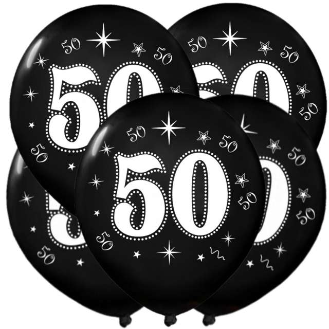 "Balony ""50"", metalik black, 12"", 5 szt"
