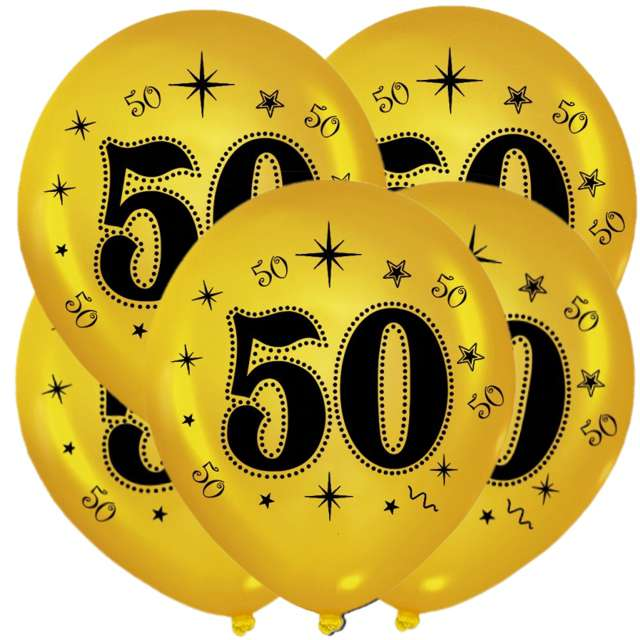 "Balony ""50"", metalik gold, 12"", 5 szt"